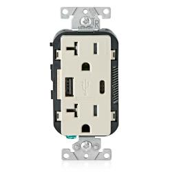 Leviton T5833-T - 20 Amp Tamper Resistant Duplex Receptacle w/ Type USB A/C Ports Charger - Light Almond