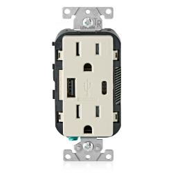 Leviton T5633-T - 15 Amp Tamper Resistant Duplex Receptacle w/ Type USB A/C Ports Charger - Light Almond