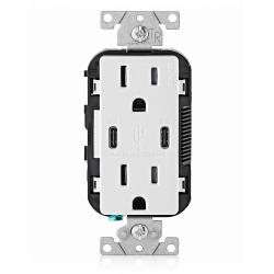 Leviton T5635-W - 15 Amp Tamper Resistant Duplex Receptacle with 2 Type USB C Ports Charger - White