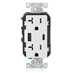 Leviton T5833-W - 20 Amp Tamper Resistant Duplex Receptacle w/ Type USB A/C Ports Charger - White