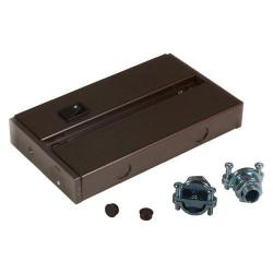 "American Lighting - ALC-BOX-DB - Hardwire Junction Box for LED Complete Fixtures -- (4) 3/8"" Knockouts and End Connection Ports - (2) 3/8"" Cable Connectors Included - Dark Bronze Finish"