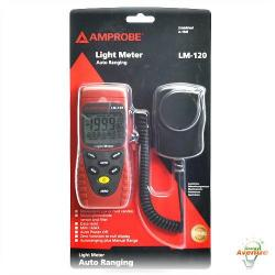 Amprobe - LM-120 - Light Meter -- Manual Ranging - Measure in Lux or Footcandles - 200,000 Lux or 20,000 Foot Candles - Silicon Photodiode Sensor and Filter - 3-1/2 Digit Display - Min/Max Ability to show High and Low Readings