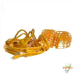 Bergen - GL50-123MPC - Deluxe ETL Listed 50ft Temporary Light String -- 12/3 Construction - Indoor/Outdoor Use - Yellow Cord, Lampholders, and Bulb Protectors