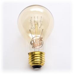 Classic Bulb - Victorian - A19 -- 60 Watt - Quad Loop Filament - A60 - 2200K - Amber