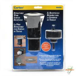 Carlon - RWSR - Retractable Work Surface Receptacle and Hole Saw -- 6 Foot Cord - 2 1/4 Inch Mounting Hole