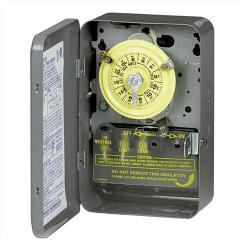 Intermatic - T102 - Electromechanical Time Switch -- 24-Hour Dial - 40 Amps - 208-277V - NEMA 1 Indoor Steel Case - SPST - Gray
