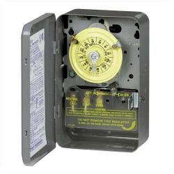 Intermatic - T104 - Heavy Duty Mechanical Time Switch -- 24-Hour Dial - 40 Amps - 208/277V - DPST - Nema 1 Indoor Steel Case - Gray