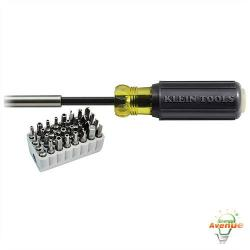 Klein Tools - 32510 - Magnetic Screwdriver with 32-Piece Tamperproof Bit Set -- Includes complete tamperproof bit set in block