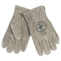 Klein Tools - 40004 - Cowhide Driver's Glove -- Medium - Durable, Sueded Cowhide Leather - Gray