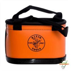 Klein Tools - 5144HBS - Hard Body Oval Bucket -- Includes leather skinning knife sheath and 14 other interior pockets - Orange, non-conductive plastic exterior maintains bucket shape - Black molded polypropylene bottom with drain holes