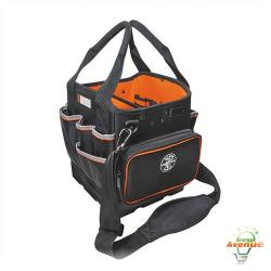 Klein Tools - 5541610-14 - Tradesman Pro Organizer 10 Inch Tote -- Black and Orange - 40 Pockets - 1680d Ballistic Weave