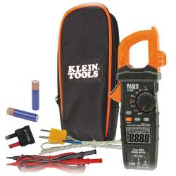 Klein Tools - CL800 - 600 Amp AC/DC True RMS Auto-Ranging Digital Clamp Meter -- True Mean Squared (TRMS) Technology - Includes carrying pouch, test leads, thermocouple with adapter, and batteries