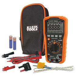 Klein Tools - MM700 - Auto-Ranging 1000V Digital Multimeter -- CAT IV 600V Safety Rating - Includes carrying pouch, test leads, alligator clips, thermocouple with adapter and batteries