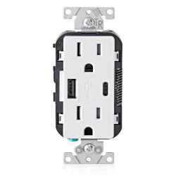 Leviton T5633-W - 15 Amp Tamper Resistant Duplex Receptacle w/ Type USB A/C Ports Charger - White