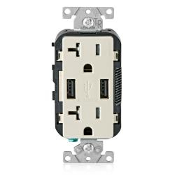 Leviton T5832-T - 20 Amp Tamper Resistant Duplex Receptacle w/ 2 Types USB A Ports Charger - Light Almond