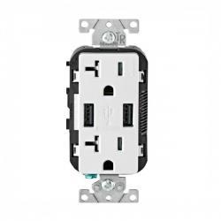 Leviton - T5832-W - USB Charger/Tamper Resistant Duplex Receptacle -- White - 125 Volt - 20 Amp
