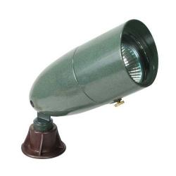 Orbit Industries - 1071-VG - Verde Green Cast Aluminum Hooded Bullet Landscape Light -- 12V - 20 Watt MR16 Bulb, 35 Watt Max - Tempered Glass Lens - GS-85 PVC Spike - CO-3 Connector - Verde Green Finish