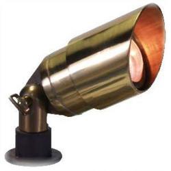 Orbit Industries - B141-NB - Natural Brass Cast Aluminum Large Hooded Bullet Landscape Light