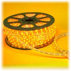 "Wide Loyal - CFL-15YS - 150ft Yellow LED Chasing Flexilight -- 1/2"" Diameter - 110-120V - 3 Wires - 1"" Bulb Spacing - 1,800 LEDs per Roll - Includes 1 Power Cord"