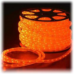 "Wide Loyal - IFLC-15OS - 150ft Orange LED Instant Flexilight -- 1/2"" Diameter - 120V - 2 Wires - 1"" Bulb Spacing - 1,800 LEDs per Roll - Includes 1 Power Cord"