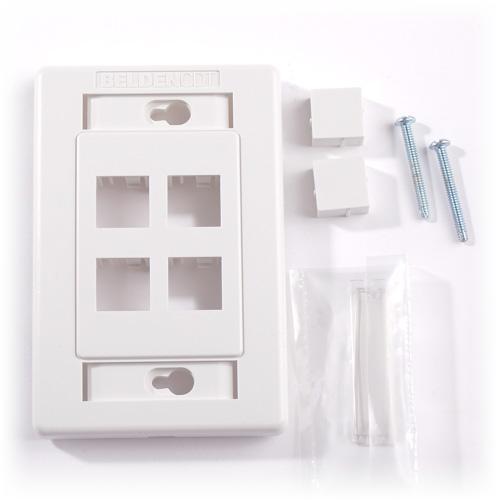Belden Bax101437 Faceplate Flush 4 Port 1 Gang