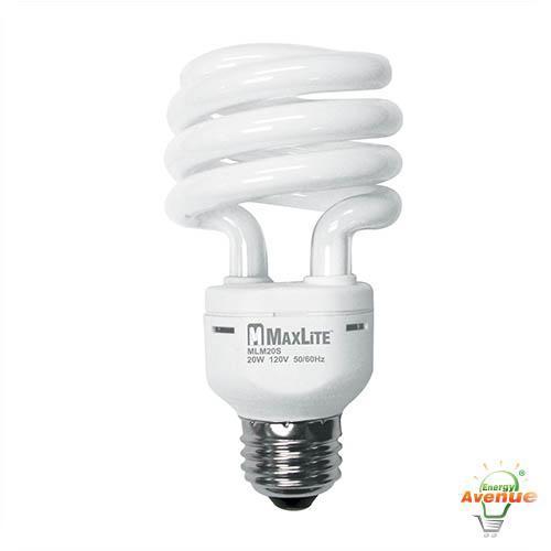 maxlite mlm20scw 01427 spiral cfl 75 watt incandescent equivalent 20 watt 4100k energy avenue. Black Bedroom Furniture Sets. Home Design Ideas