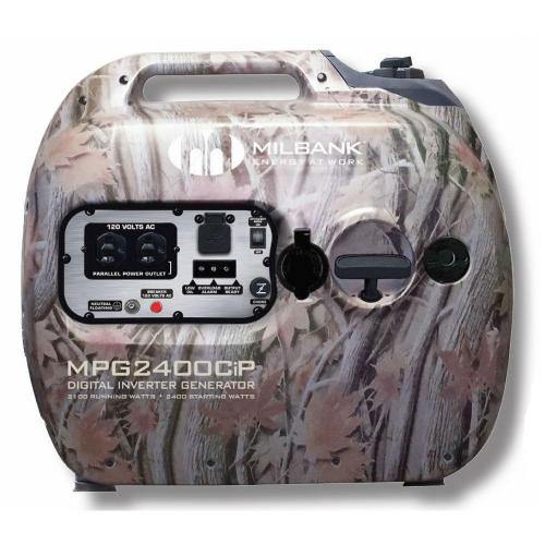 Milbank - MPG2400CIP - Camouflage Digital Inverter Portable Generator -- 2100 Watt - 12V DC - 79cc - 1.3 Gallon Fuel Tank