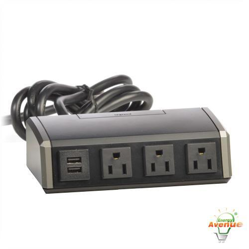 Wiremold - WSC320-S - Power & USB Desktop Power Center -- 3 Power Outlets / 2 USB Charging Connections - 6' Power Cord - Desktop Mount
