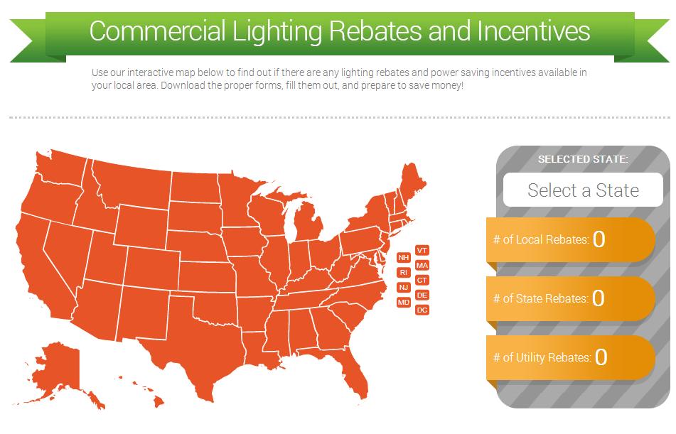lighting rebates map