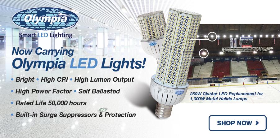 Olympia Lighting LED Fixtures - Cluster, Hi-Bay, Retrofit Kit, Shoebox, Vapor Tight