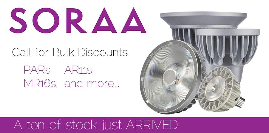 Soraa LEDs Bulbs - A60, A19, BR30, MR16, PAR20, PAR30, PAR38, AR111
